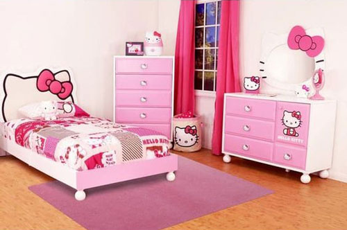 phòng ngủ hello kity màu hồng 3