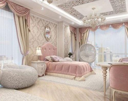 phòng ngủ sang trọng màu hồng 2