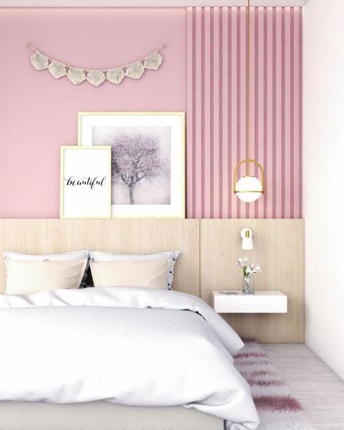 mảng tường màu hồng