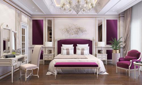 mẫu phòng ngủ màu tím 2