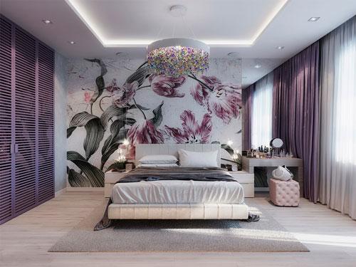 mẫu phòng ngủ màu tím 3