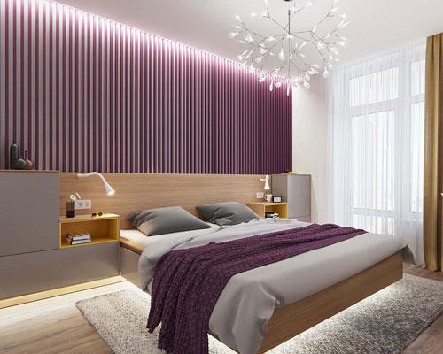 mẫu phòng ngủ màu tím 5