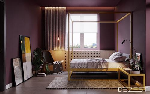 mẫu phòng ngủ màu tím 8