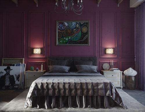 mẫu phòng ngủ màu tím 9