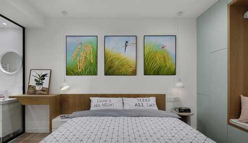 Bộ tranh decor thường được lựa chọn trong trang trí phòng ngủ bởi đẹp và rẻ