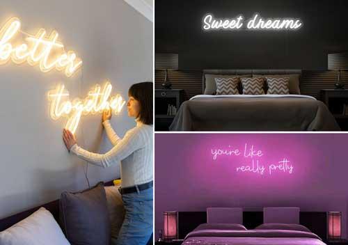Một số hình ảnh trang trí đèn led trên tường phòng ngủ