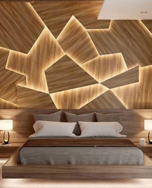 Tường ốp gỗ kết hợp với đèn led mang lại hiệu ứng đẹp mắt