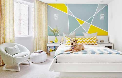 Sơn tường phòng ngủ theo phong cách color block, trẻ trung năng động