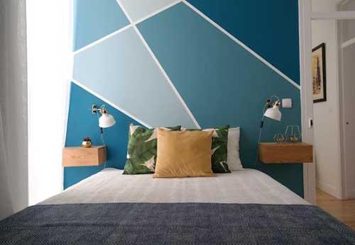 Chỉ bằng việc sơn các tone màu thành những hình khối khác nhau lên tường, đã làm căn phòng sinh động hơn rất nhiều