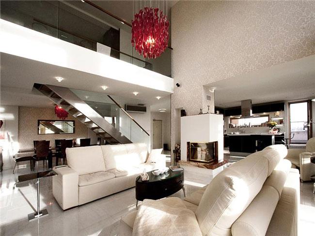 thiết kế phòng khách có gác lửng 10