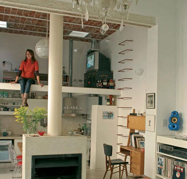 thiết kế phòng khách có gác lửng 12