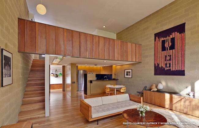thiết kế phòng khách có gác lửng 13