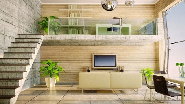 thiết kế phòng khách có gác lửng 14