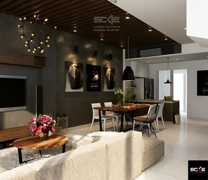thiết kế phòng khách liên thông bếp 1