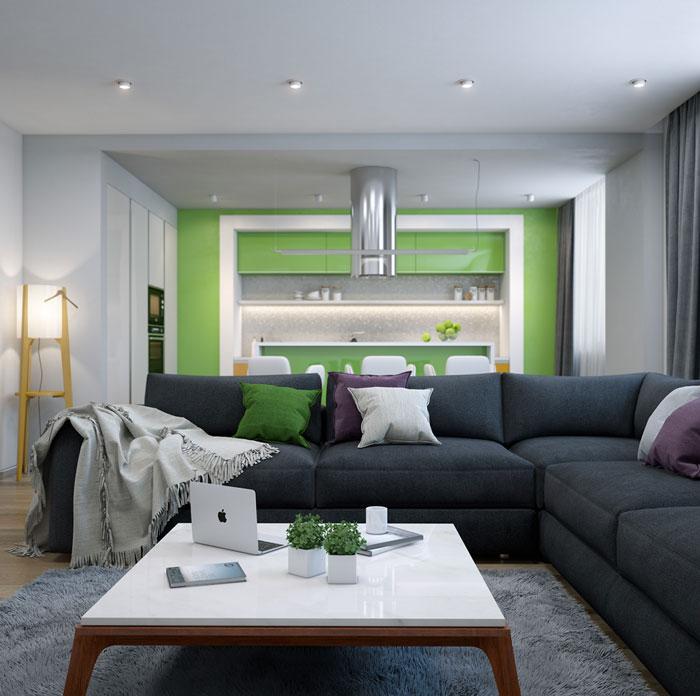 thiết kế phòng khách liên thông bếp 10