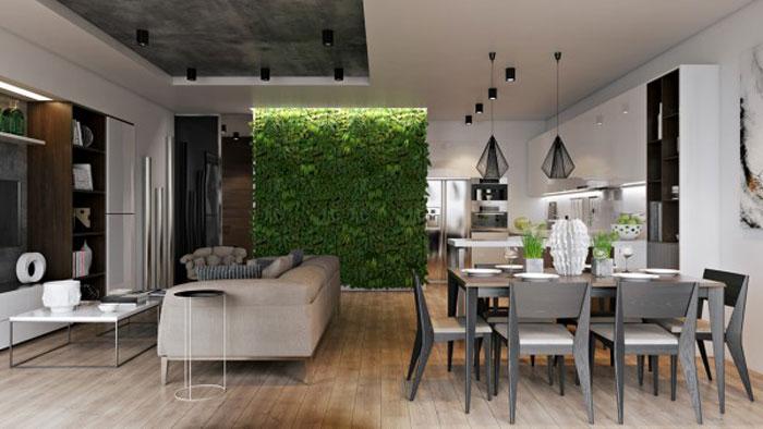 thiết kế phòng khách liên thông bếp 11