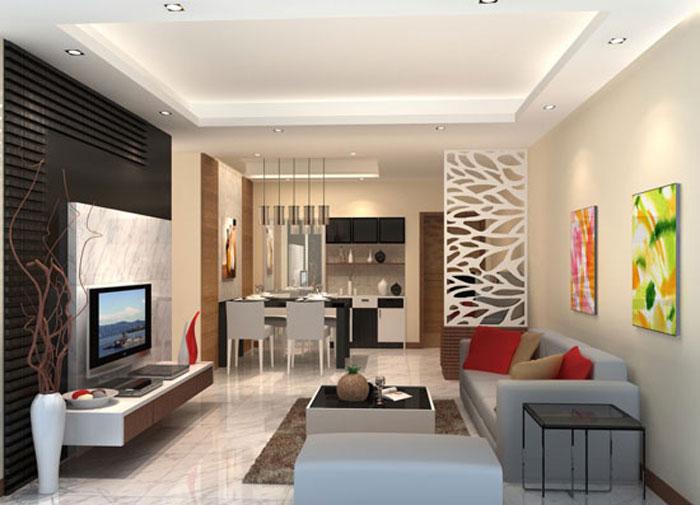 thiết kế phòng khách liên thông bếp 13