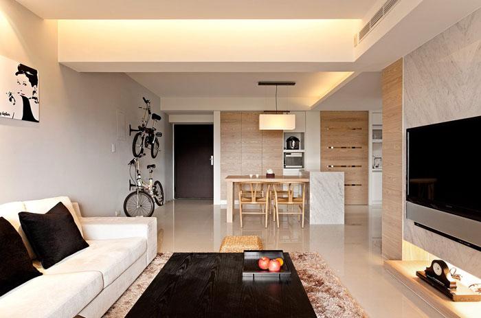 thiết kế phòng khách liên thông bếp 6