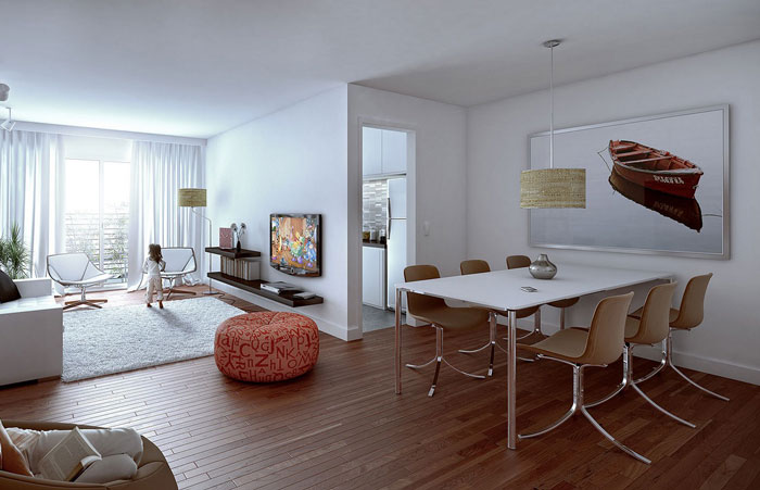 thiết kế phòng khách liên thông bếp 8