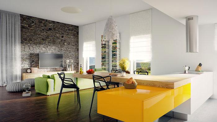 thiết kế phòng khách liên thông bếp 9