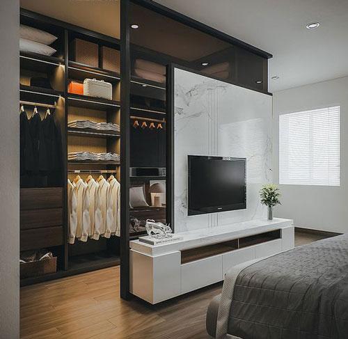 phòng ngủ kết hợp phòng thay đồ có vách ngăn 2
