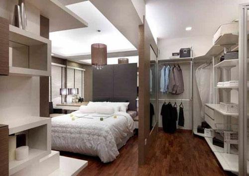 phòng ngủ kết hợp phòng thay đồ có vách ngăn 3